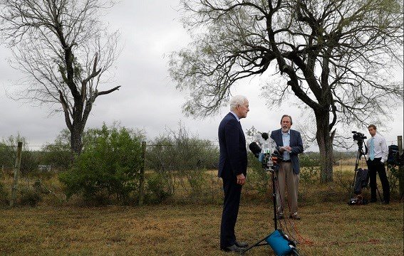 Republican Sen. John Cornyn, left, speaks to the media following a worship service for the victims of the shooting at Sutherland Springs First Baptist Church.