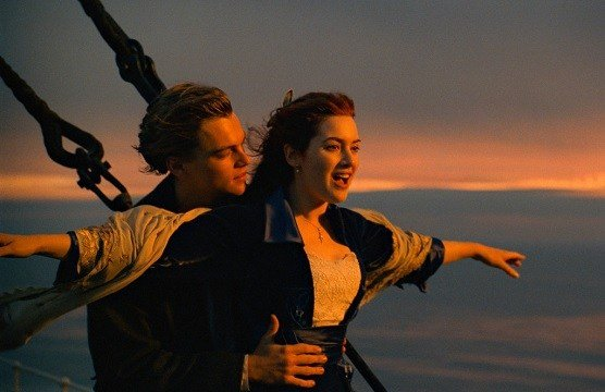 "Paramount Pictures shows Leonardo DiCaprio, left, and Kate Winslet in a scene from ""Titanic."""