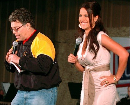 U.S. Army, then-comedian Al Franken and sports commentator Leeann Tweeden perform a comic skit.