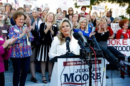 Kayla Moore, wife of former Alabama Chief Justice and U.S. Senate candidate Roy Moore, speaks at a press conference.