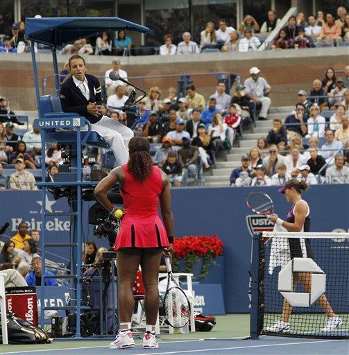 Chair umpire Eva Asderaki, above, talks to Serena Williams during the women's championship match against Samantha Stosur of Australia at the U.S. Open tennis tournament in New York, Sunday, Sept. 11, 2011.