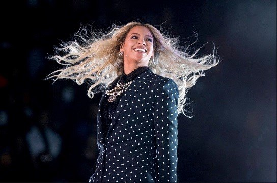 Beyonce performing at a Get Out the Vote concert for Democratic presidential candidate Hillary Clinton in Cleveland.