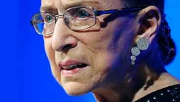 In this June 21, 2011 file photo, Supreme Court Associate Justice Ruth Bader Ginsburg speaks in Washington. (AP Photo/Cliff Owen, File)