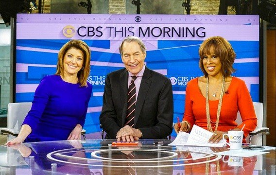 "This image released by CBS shows, from left, Norah O'Donnell, Charlie Rose and Gayle King on the set of ""CBS This Morning."""