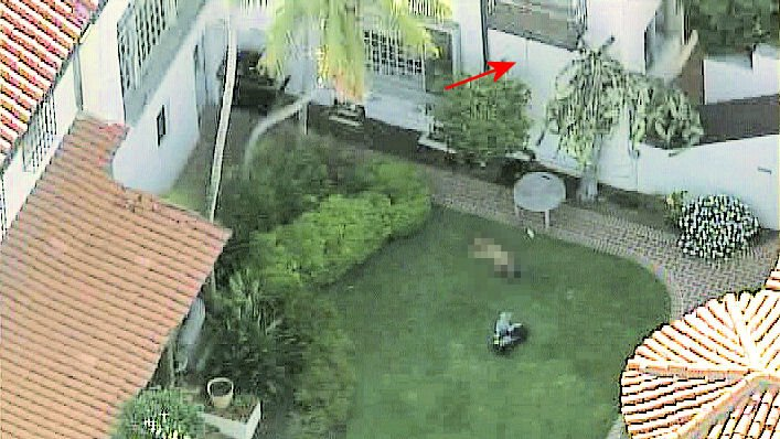 Chopper 8 video showing rope hanging from balcony -- recorded at approximately 4:45 p.m. on July 13, 2011.