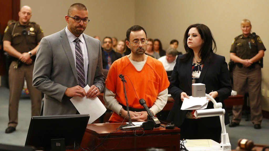 Dr. Larry Nassar, 54, appears in court for a plea hearing in Lansing, Mich., Wednesday, Nov. 22, 2017. (AP Photo/Paul Sancya)