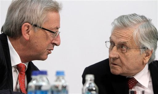 Eurogroup president Jean-Claude Juncker, left, and European Central Bank governor Jean-Claude Trichet speak at a press conference during an informal meeting of the Economic and Financial Affairs Council (ECOFIN) in in Wroclaw , Poland (AP)