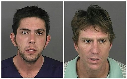 This combination made with photos provided by the Denver Police on Friday, Sept. 16 2011 shows Mark Rubinson, 25, left, and Robert Young, 43. (AP Photo/Denver Police)