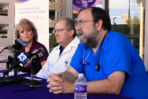 Dr. Mike Morkin, medical director of emergency services at Renown Regional Medical Center, discusses the care given to those injured in Friday's crash of a World War II era fighter plane, in Reno, Nev., Saturday, Sept, 17, 2011. (AP)