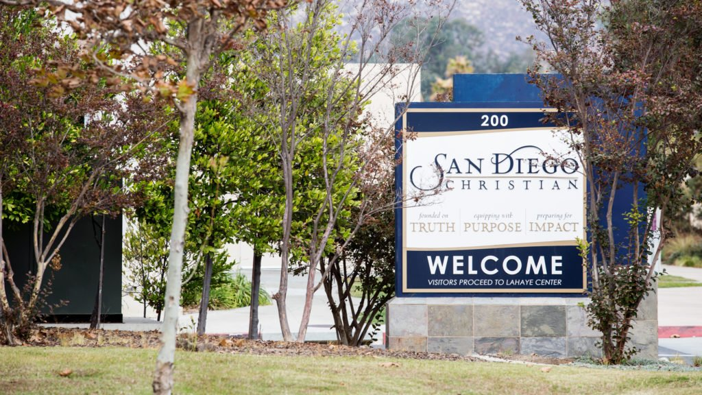 A monument sign for San Diego Christian College is shown on the school's Santee campus. (Megan Wood/inewsource)