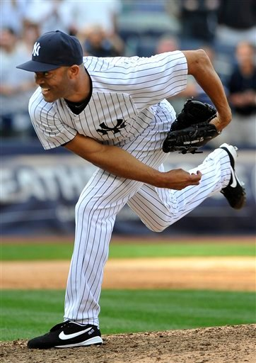 New York Yankees' Mariano Rivera pitches in the ninth inning of a baseball game against the Minnesota Twins to record his 602nd save on Monday, Sept. 19, 2011, at Yankee Stadium in New York.