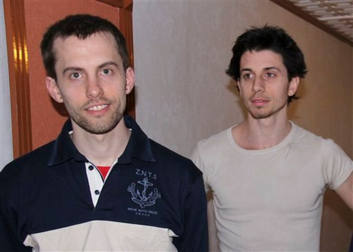 In this May 21, 2010 file photo, American hikers Shane Bauer, left, and Josh Fattal are shown in Tehran, Iran.  (AP Photo/Press TV, File)