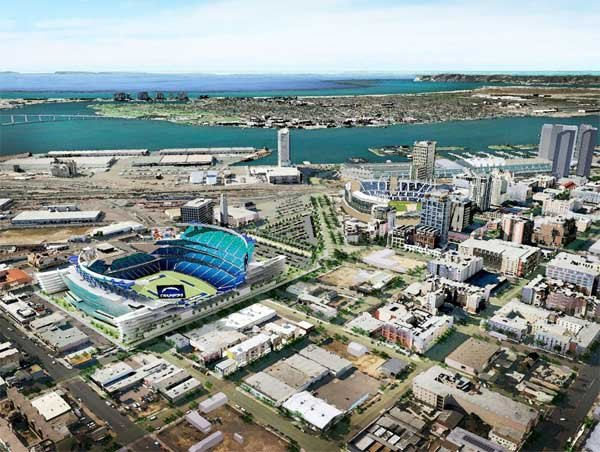 Proposed East Vilage Chargers stadium by Dennis Wellner, Populous