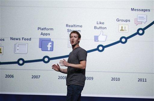 Facebook CEO Mark Zuckerberg talks about history of Facebook during the f/8 conference in San Francisco, Thursday, Sept. 22, 2011. (AP Photo/Paul Sakuma)