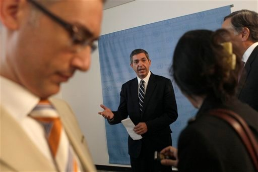 Stavros Lambrinidis, Minister for Foreign Affairs of Greece, speaks to reporters after a meeting with United Nations Secretary-General Ban Ki-moon, Sunday, Sept. 18, 2011 at United Nations headquarters.