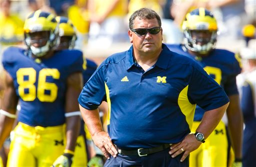 Michigan head coach Brady Hoke at NCAA college football game against San Diego State, Saturday, Sept. 24, 2011, in Ann Arbor, Mich. (AP Photo/Tony Ding)