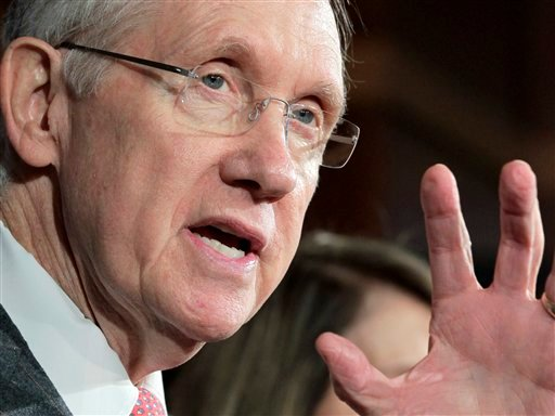 Senate Majority Leader Harry Reid gestures during a news conference on Capitol Hill in Washington. (AP)