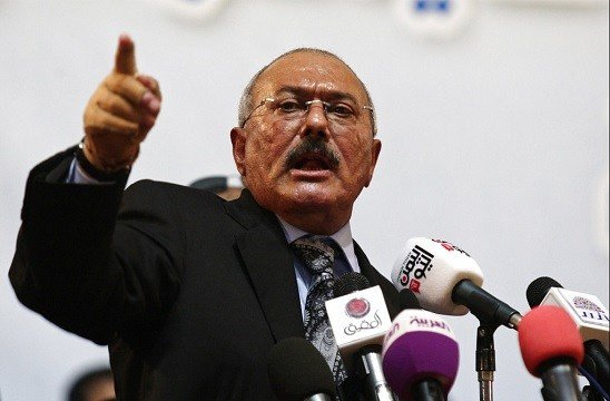 Former Yemeni President Ali Abdullah Saleh speaks during a ceremony