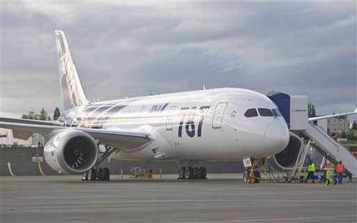 The first Boeing Co. 787 to be delivered to All Nippon Airways (ANA) sits on the tarmac outside the assembly plant in Everett, Wash. on Sunday, Sept. 25, 2011. ANA is the first customer to take delivery of the 787.