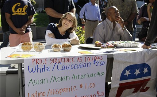 "A student who identified herself as 'Hannah"" sells baked goods during a bake sale led by the Berkeley College Republicans Tuesday, Sept. 27, 2011, at the University of California campus in Berkeley, Calif."