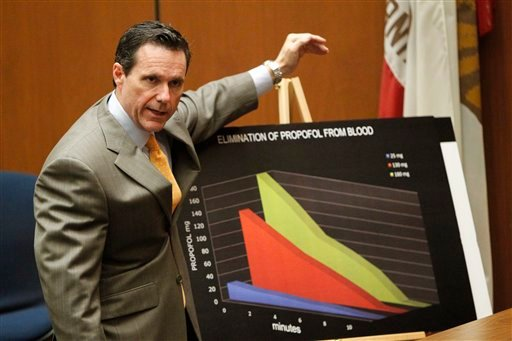 Defense Attorney Edward Chernoff gives his opening argument in the involuntary manslaughter trial of Conrad Murray at Superior Court in Los Angeles, Tuesday, Sept. 27, 2011.