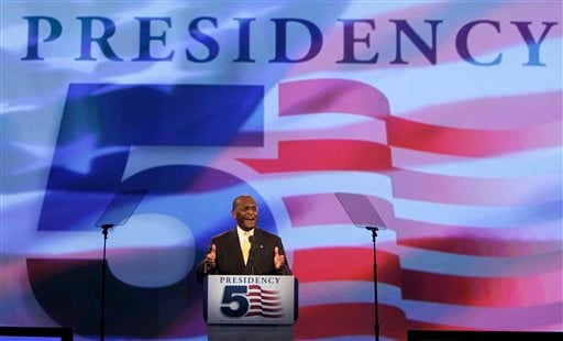 Republican presidential candidate businessman Herman Cain, speaks to delegates before straw poll during a Florida Republican Party Presidency 5 Convention Saturday, Sept. 24, 2011, in Orlando, Fla.
