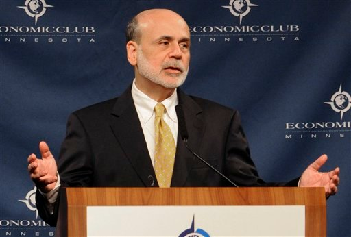 Federal Reserve Chairman Ben Bernanke addresses the Economic Club of Minnesota Thursday, Sept. 8, 2011 in Minneapolis.