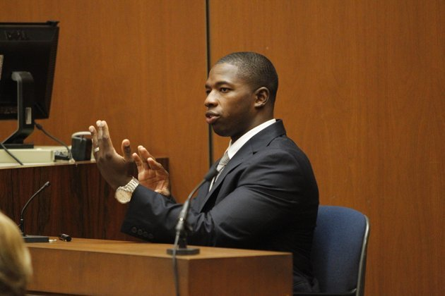 Witness Faheem Muhammad testifies during the second day of Conrad Murray's involuntary manslaughter trial in the death of pop star Michael Jackson in downtown Los Angeles, Wednesday, Sept. 28, 2011.