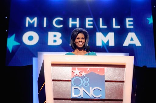 FILE - In this Aug. 25, 2008 file photo, Michelle Obama, wife of then-Democratic presidential candidate, Sen. Barack Obama, D-Ill., speaks during the Democratic National Convention in Denver.
