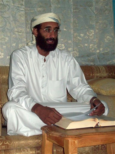 File - This October 2008 file photo by Muhammad ud-Deen shows Imam Anwar al-Awlaki in Yemen.