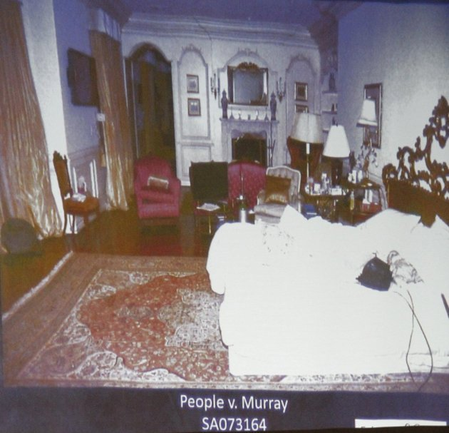 Deputy District. Attorney. David Walgren displys an image of Micheal Jackson's Holmby Hills bedroom while questioning Alberto Alvarez,one of Michael Jackson's security guards, during Conrad Murray's involuntary manslaughter trial in downtown Los Angeles.