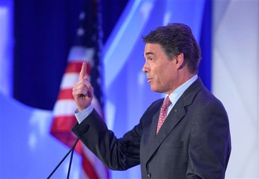 Republican presidential candidate, Texas Gov. Rick Perry delivers a speech at the Georgia Legislative Briefing, Friday, Sept. 30, 2011, in Atlanta.