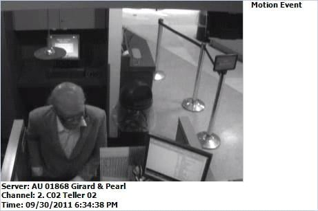Surveillance photo of bank robber