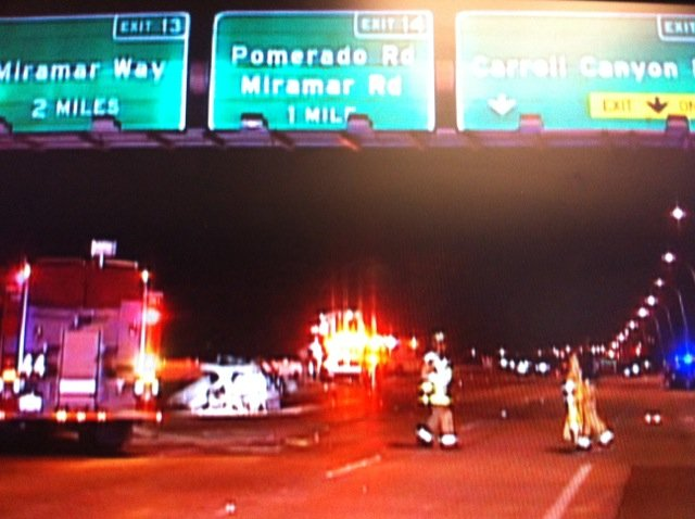 The scene from the deadly multi-vehicle accident on Interstate 15 in Mira Mesa.