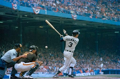 Detroit Tigers' shortstop Alan Trammell is pictured during game action in the World Series against the San Diego Padres at Tiger Stadium in Detroit, Oct. 1984. (AP Photo)