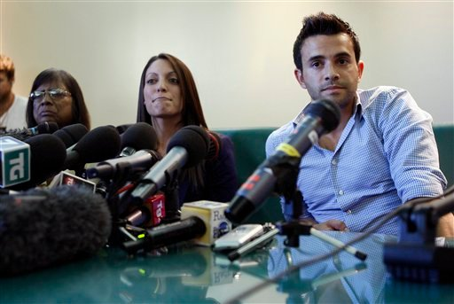 From left, Arline, Stephanie and Lyle Kercher, mother, sister and brother of slain British student Meredith, speak to reporters in Perugia, Italy, Monday, Oct. 3, 2011.