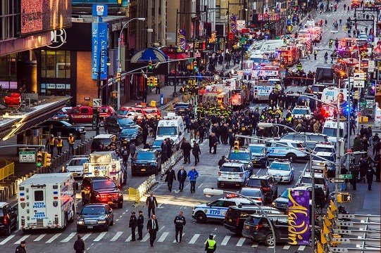 Law enforcement officials work following an explosion near New York's Times Square on Monday, Dec. 11, 2017.