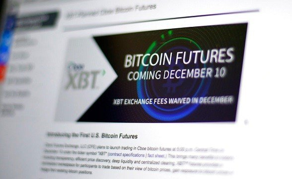 Chicago Board Options Exchange website announcing that bitcoin futures will start trading on the CBOE.
