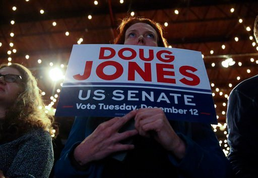 A woman waits for Democratic candidate for U.S. Senate Doug Jones to arrive for a rally Monday, Dec. 11, 2017, in Birmingham, Ala. Jones is facing Republican Roy Moore. (AP Photo/John Bazemore)