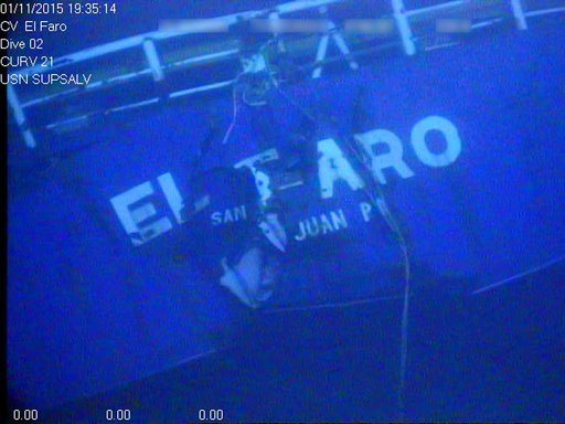 FILE - This undated image made from a video released April 26, 2016, by the National Transportation Safety Board shows the stern of the sunken ship El Faro. (National Transportation Safety Board via AP, File)