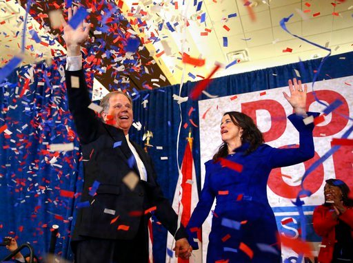 Democratic candidate for U.S. Senate Doug Jones and his wife Louise wave to supporters before speaking Tuesday, Dec. 12, 2017, in Birmingham, Ala.  (AP Photo/John Bazemore)