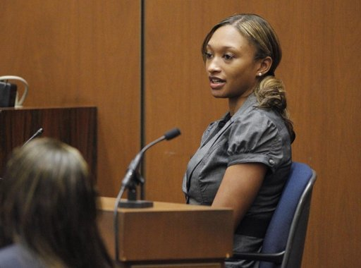 Prosecution witness Sade Anding testifies during Dr. Conrad Murray's trial in the death of pop star Michael Jackson in Los Angeles, Tuesday, Oct. 4, 2011.