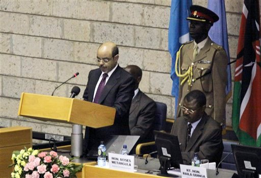 Ethiopian Prime Minister Meles Zenawi speakers during the closing session of the Summit on the Horn of Africa Crisis, being held in Nairobi, Kenya Friday Sept. 9, 2011. T