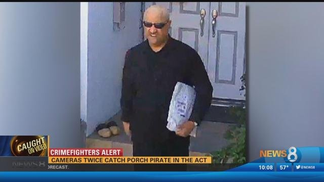 Stealing Holiday Cheer: Cameras catch porch pirate in the act twice