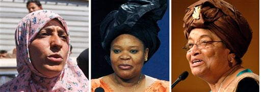 Africa's first democratically elected female president, a Liberian peace activist and a woman who stood up to Yemen's authoritarian regime won the Nobel Peace Prize on Friday Oct. 7, 2011 for their work to secure women's rights (AP)
