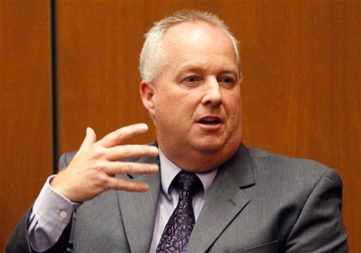 Dan Anderson, toxicologist with the Los Angeles County Coroners office, testifies during Dr.Conrad Murray's trial in the death of pop star Michael Jackson in Los Angeles, Thursday, Oct. 6, 2011.