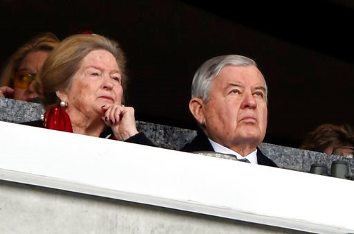 Carolina Panthers owner Jerry Richardson watches the action during the first half of an NFL football game between the Carolina Panthers and the Green Bay Packers in Charlotte, N.C., Sunday, Dec. 17, 2017.