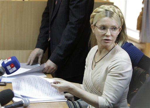 Former Ukrainian Prime Minister Yulia Tymoshenko seen during her trial, at the Pecherskiy District Court in Kiev, Ukraine, Tuesday, Oct. 11, 2011. (AP)