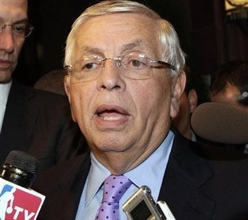 NBA Commissioner David Stern talks with reporters, Monday, Oct. 10, 2011, in New York. Stern canceled the first two weeks of the season after players and owners were unable to reach a new labor deal to end the lockout. Opening night was scheduled for Nov.