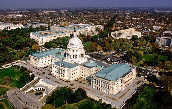 United States Capitol in Washington, D.C. is shown in an aerial view.